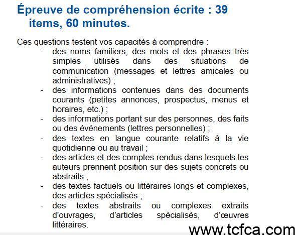 TCF Canada Compréhension Écrite