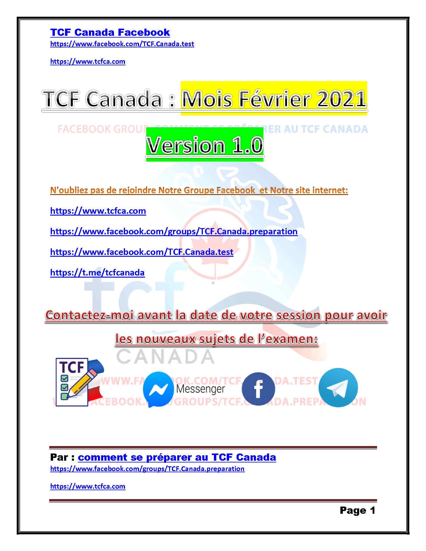 TCF Canada Sujets de Février 2021 Expression Écrite et Orale