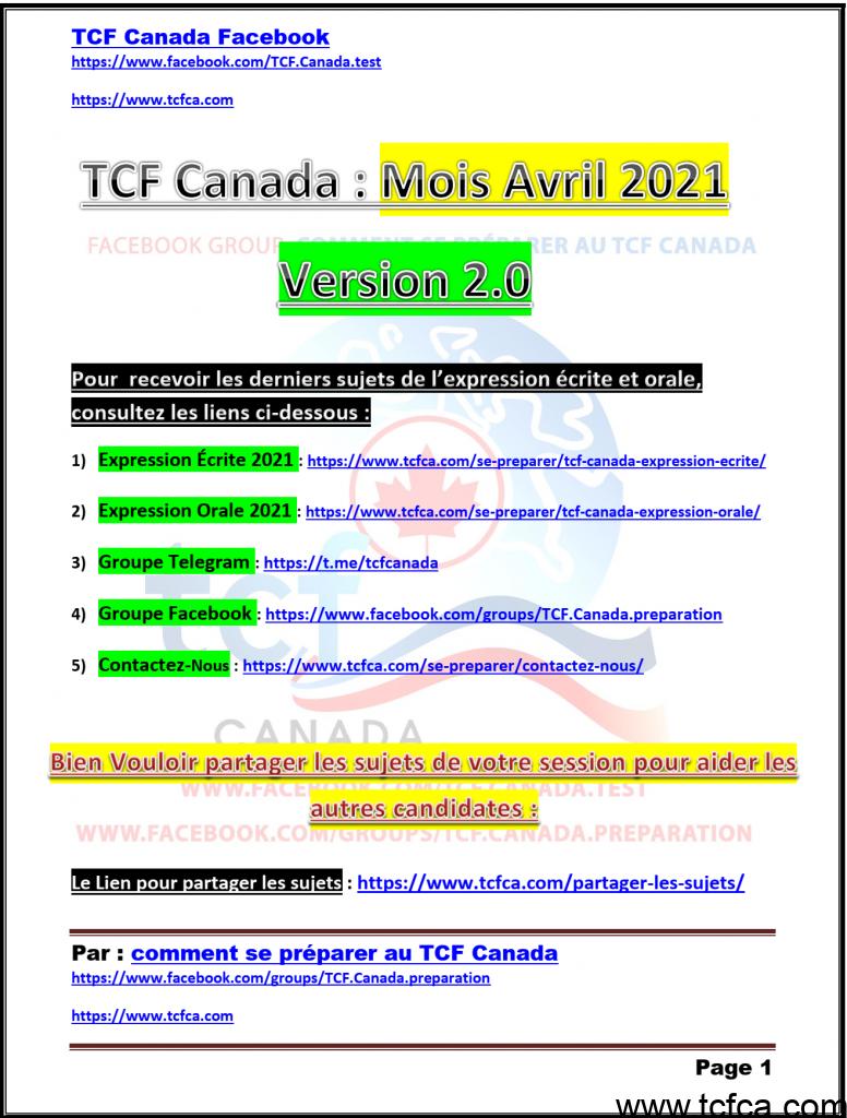 TCF Canada Sujets d'avril 2021 Expression Écrite et Orale