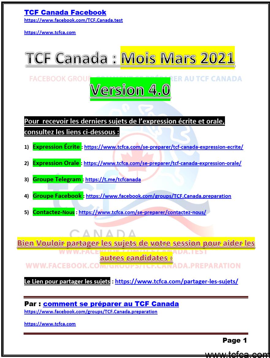 TCF Canada Sujets de Mars 2021 Expression Écrite et Orale