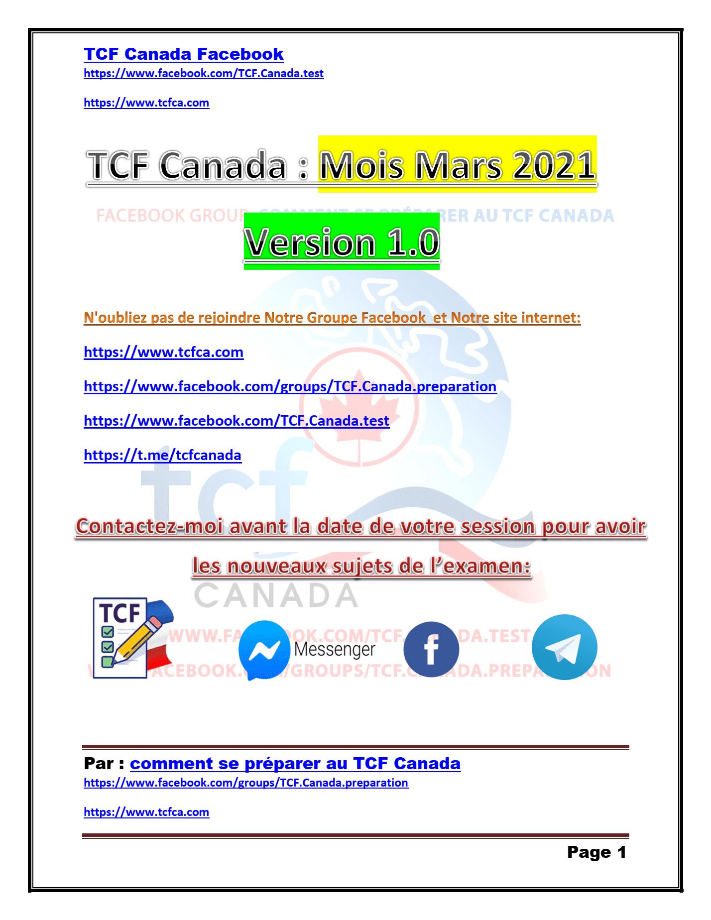 TCF Canada Expression orale Mars 2021
